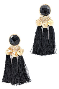 S1-2-4-LBE7407JT JET BLACK TRIPPLE TASSEL FASHION EARRINGS/3PAIRS