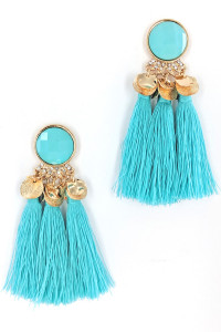 S1-1-3-LBE7407MT MINT TRIPPLE TASSEL FASHION EARRINGS/3PAIRS