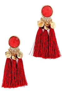 S1-2-4-LBE7407RD RED TRIPPLE TASSEL FASHION EARRINGS/3PAIRS