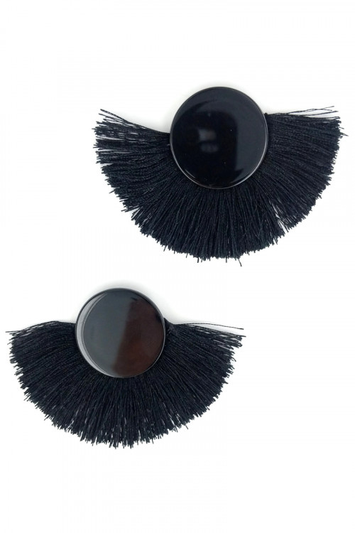 S1-2-1-LBE7408BK BLACK BUTTON STYLE WITH MATCHING COLOR TASSEL EARRINGS/3PAIRS