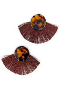 S1-2-3-LBE7408BR TURTOISE BUTTON STYLE WITH BROWN TASSEL EARRINGS/3PAIRS