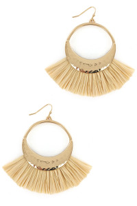 S1-3-4-LBE7414NT NATURAL COLOR RAFFIA HOOP FASHION EARRINGS/3PAIRS