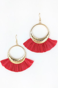 S1-1-1-LBE7414RE RED RAFFIA FASHION EARRINGS/3PAIRS