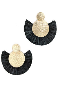 S1-3-4-LBE7415BK BLACK GOLD HAMMER STYLE BLACK RAFFIA EARRINGS/3PAIRS