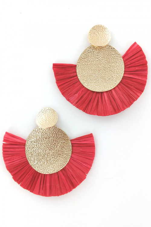 S1-1-3-LBE7415RE RED GOLD HAMMER STYLE RED RAFFIA EARRINGS/3PAIRS