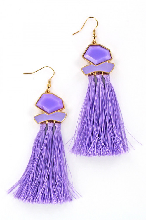S1-1-1-LBE7420LA LILAC TASSEL FASHION EARRINGS/3PAIRS