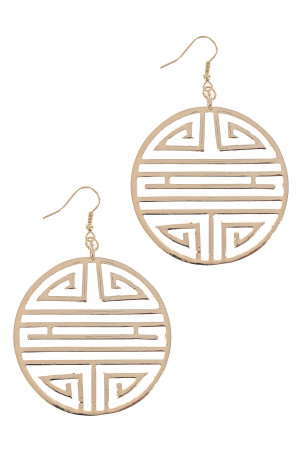 S1-1-5-LBE7421GD GOLD ROUND MEDALLION FASHION EARRINGS/3PAIRS