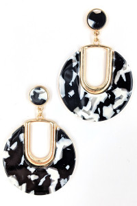S1-2-5-LBE7424BW BLACK AND WHITE RESIN FASHION EARRINGS/3PAIRS