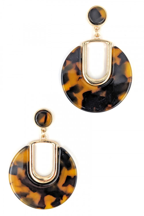 S1-2-5-LBE7424TUR TURTOISE RESIN FASHION EARRINGS/3PAIRS
