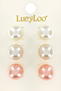 S1-4-1-LBE7431MU TRIPPLE PAIR PEARL STUD EARRINGS/6PAIRS