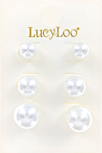 S1-2-1-LBE7434IV 3 PAIR ON A CARD PEARL FASHION EARRING SET/6SETS