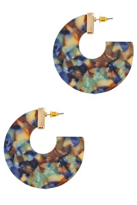 S1-6-2-LBE7439BL BLUE FLAT HOOP MULTICOLOR FASHION EARRINGS/3PAIRS