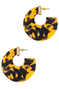 S1-3-2-LBE7439TOR TORTOISE FLAT HOOP FASHION EARRINGS/3PAIRS