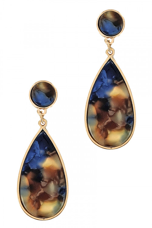 S1-3-1-LBE7440BL TEAR DROP BLUE RESIN EARRINGS/6PAIRS