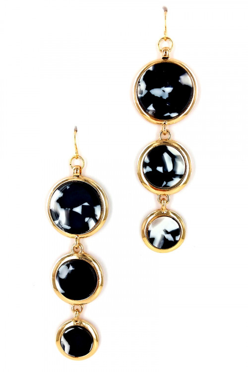 S1-1-4-LBE7441BW BLACK & WHITE RESIN DROP EARRINGS/6PAIRS