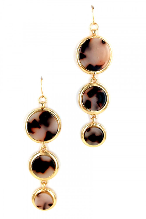 S1-1-3-LBE7441NT NATURAL RESIN DROP EARRINGS/6PAIRS