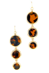 S1-1-4-LBE7441TUR TORTOISE RESIN DROP EARRINGS/6PAIRS