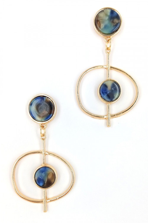 S1-2-4-LBE7446BL BLUE RESIN FASHION EARRINGS/6PAIRS