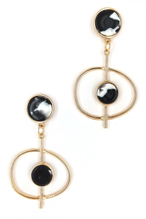S1-2-4-LBE7446BW BLACK AND WHITE RESIN FASHION EARRINGS/6PAIRS