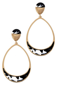 S1-1-1-LBE7449BW BLACK AND WHITE RESIN TEARDROP FASHION EARRINGS/6PAIRS