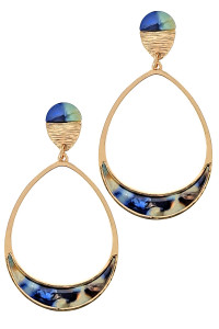 S1-1-1-LBE7449DMU DARK MULTICOLOR RESIN TEARDROP FASHION EARRINGS/6PAIRS