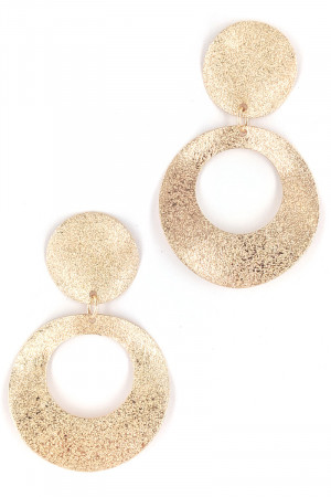 S1-2-4-LBE7450GD GOLD COLOR SANDY TEXTURE FASHION EARRINGS/3PAIRS