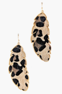 S1-2-3-LBE7451AP ANIMAL PRINT LEAF FASHION EARRINGS/3PAIRS