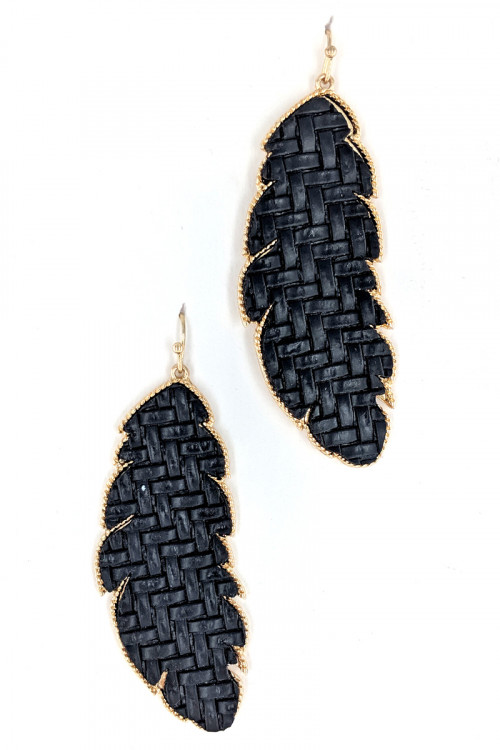 S1-2-4-LBE7451BK BLACK LEAF FASHION EARRINGS/3PAIRS