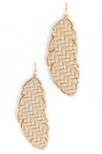 S1-2-4-LBE7451NT NATURAL COLOR LEAF FASHION EARRINGS/3PAIRS