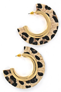 S1-2-3-LBE7452AP CHEETAH PRINT HALF MOON FASHION EARRINGS/3PAIRS