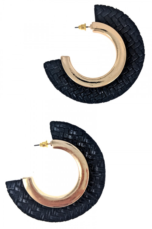 S1-1-4-LBE7452BK BLACK BRAIDED STYLE HALF MOON FASHION EARRINGS/3PAIRS
