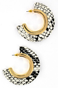 S1-2-3-LBE7452LAP SNAKE PRINT HALF MOON FASHION EARRINGS/3PAIRS