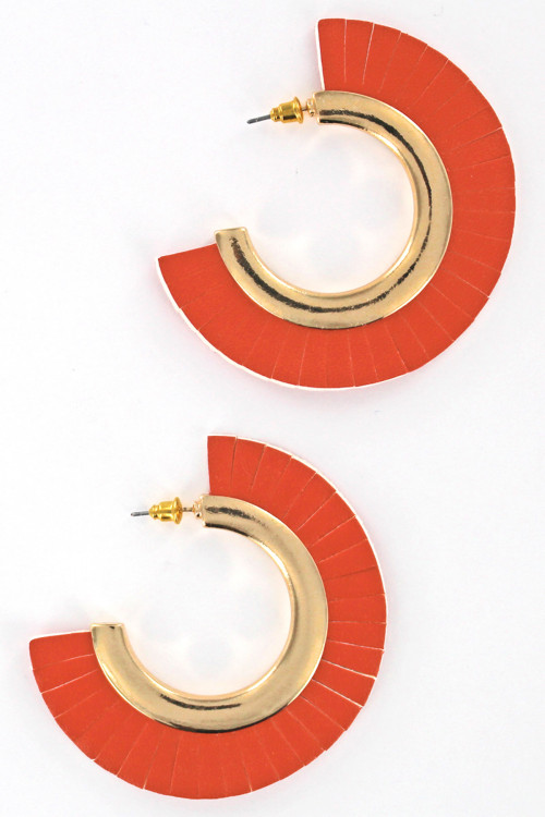 S1-2-3-LBE7452OR ORANGE LEATHER FASHION EARRINGS/3PAIRS