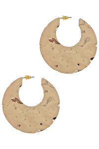 S1-4-2-LBE7473GD GOLD HAMMERED CRESCENT MOON EARRINGS/6PAIRS