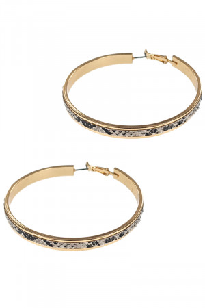 S1-7-3-LBE7474AP ANIMAL PRINT TEXTURE FASHION GOLD HOOP EARRINGS/3PAIRS