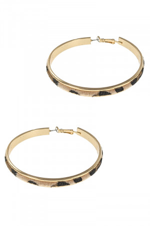 S1-7-3-LBE7474DAP ANIMAL PRINT TEXTURE FASHION GOLD HOOP EARRINGS/3PAIRS