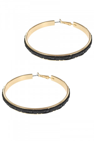 S1-1-5-LBE7474JT JET BLACK BRAIDED TEXTURE FASHION GOLD HOOP EARRINGS/3PAIRS