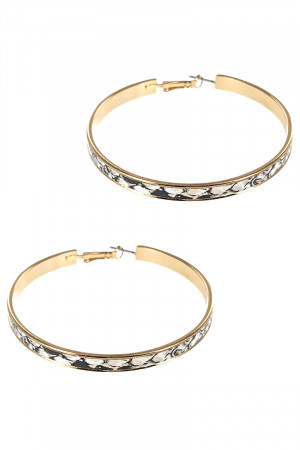 S1-5-3-LBE7474LAP ANIMAL PRINT TEXTURE FASHION GOLD HOOP EARRINGS/3PAIRS