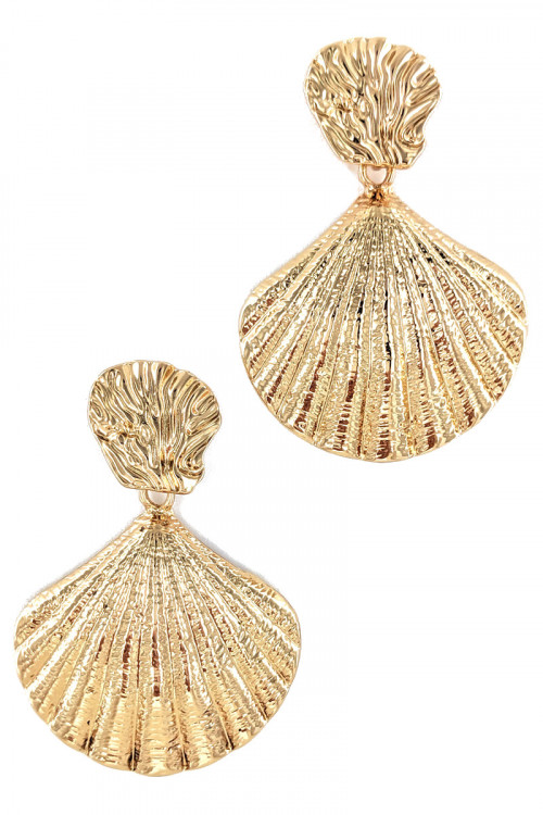 S1-1-3-LBE7475GD GOLD SEASHELL FASHION EARRINGS/3PAIRS