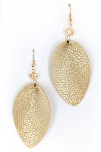 S1-2-2-LBE7476GD GOLD LEATHER LEAF FASHION EARRINGS/3PAIRS