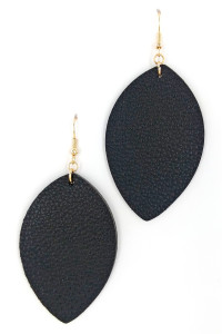 S1-4-2-LBE7477BK BLACK LEAF LEATHER STYLE FASHION EARRINGS/3PAIRS