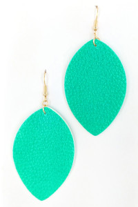 S1-2-2-LBE7477MT MINT COLOR LEATHER LEAF EARRINGS/3PAIRS