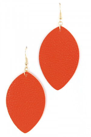 S1-2-2-LBE7477OR ORANGE LEAF LEATHER EARRINGS/3PAIRS