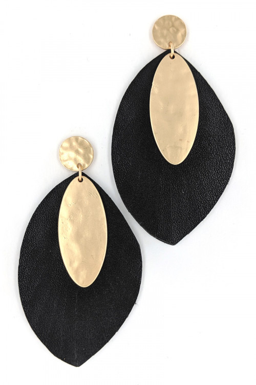 S1-2-3-LBE7479BK BLACK VEGAN LEATHER WITH MATTE GOLD FAHION EARRINGS/3PAIRS