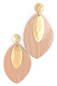 S1-2-3-LBE7479PK PINK VEGAN LEATHER WITH MATTE GOLD FASHION EARRINGS/3PAIRS