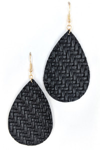 S1-1-3-LBE7480BK BLACK BRAIDED LEATHER LEAF EARRINGS/3PAIRS