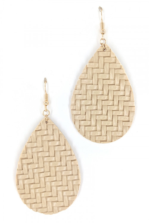 S1-2-5-LBE7480NT NATURAL COLOR LEAF BRAIDED LEATHER FASHION EARRINGS/3PAIRS