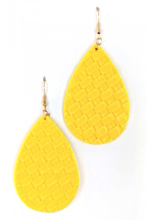 S1-1-3-LBE7480YE YELLOW BRAIDED LEATHER LEAF EARRINGS/3PAIRS