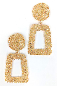 S1-2-3-LBE7181GD SANDY GOLD FASHION EARRINGS/3PAIRS