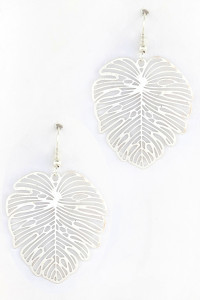 S1-1-2-LBE7482MTSL MATTE SILVER LEAF SHAPE FASHION EARRINGS/3PAIRS